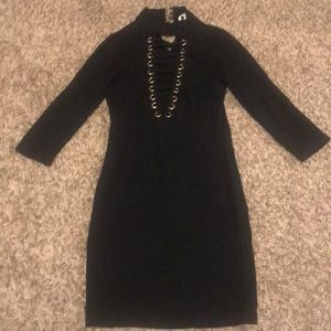 Laced up black party dress